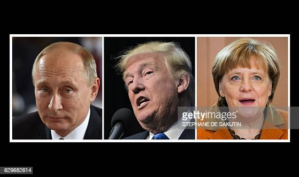 This combination of file photos shows LR Russian President Vladimir Putin on October 19 2016 in Berlin US Presidentelect Donald Trump in Sioux City...