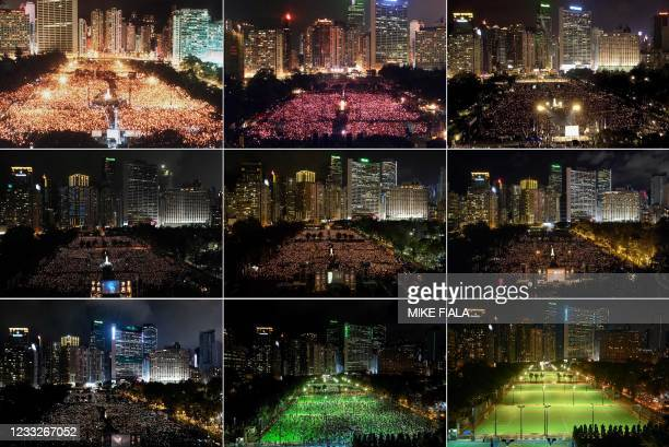 This combination of file photos taken on June 4 June 4 June 4 June 4 June 4 June 4 June 4 shows activists attending a candlelit vigil at Victoria...