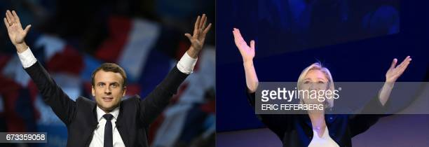 This combination of file pictures created on April 26 2017 in Paris shows an April 17 2017 picture of Presidential election candidate for the En...