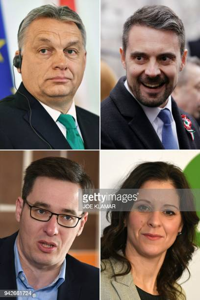 This combination of file pictures created on April 6, 2018 shows Hungarian Prime Minister Viktor Orban on January 30, 2018 in Vienna, Gabor Vona,...