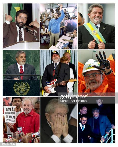 This combination of file pictures created on April 6 2018 shows Brazilian expresident Luiz Inacio Lula da Silva in New York on May 02 1989 in Rio de...