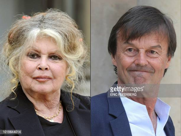 This combination of file pictures created on August 12 2018 in Paris shows French film legend and animal rights activist Brigitte Bardot posing at...