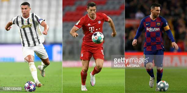 This combination of file pictures created on December 14, 2020 shows the selected three Fifa Best's Men players Juventus' Portuguese forward...