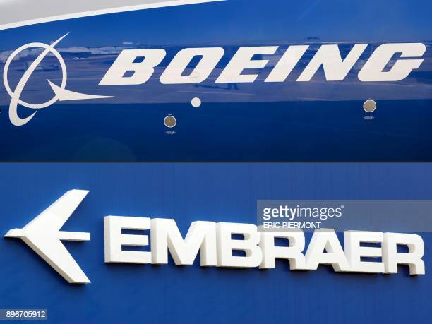 This combination of file pictures created on December 21 2017 shows the Boeing logo on the fuselage of a Boeing 78710 Dreamliner test plane presented...