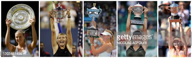 This combination of file pictures created on February 26 shows Russia's Maria Sharapova holding trophies after winning -the 2004 Wimbledon Tennis...