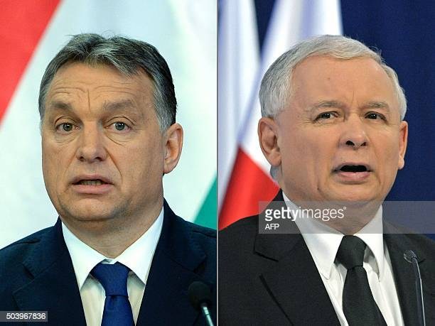 This combination of file pictures created on January 8 2016 shows Hungarian Prime Minister Viktor Orban and Jaroslaw Kaczynski leader of Poland's...