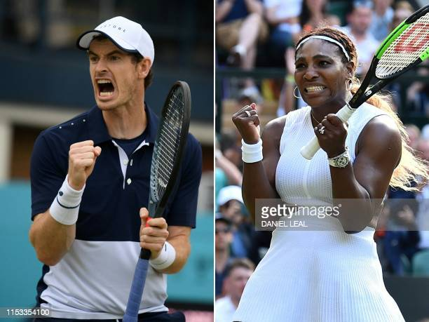 This combination of file pictures created on July 3 2019 shows Britain's Andy Murray reacting to winning the first set during his men's doubles final...