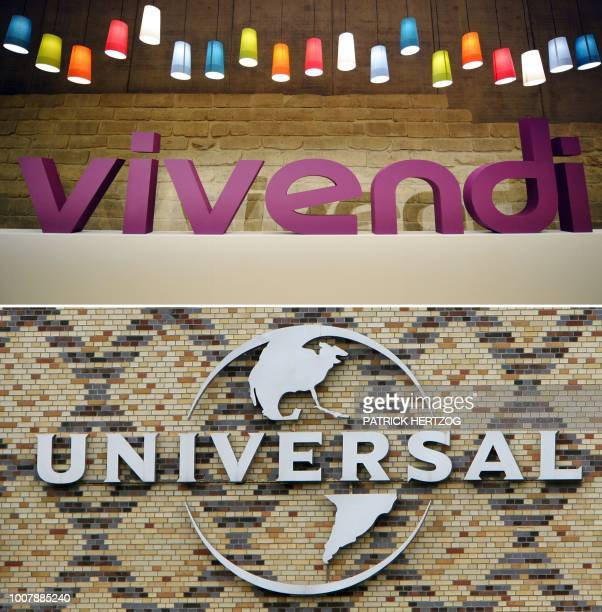 This combination of file pictures created on July 30 2018 in Paris shows the logo of French media group Vivendi in Paris on April 24 2008 and the...