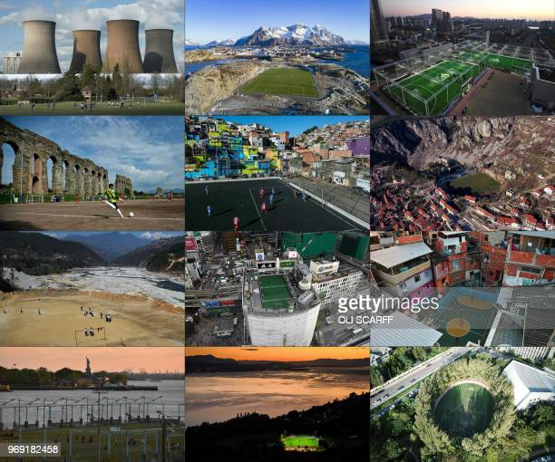 This combination of file pictures created on June 07, 2018 shows a match underway at Brereton Town FC's ground in front of the coal-fired Rugeley...
