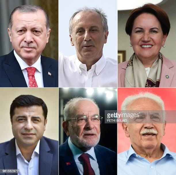 People react and wave Turkish flags outside the Justice and Development Party headquarters in Istanbul on June 24 during the Turkish presidential and...