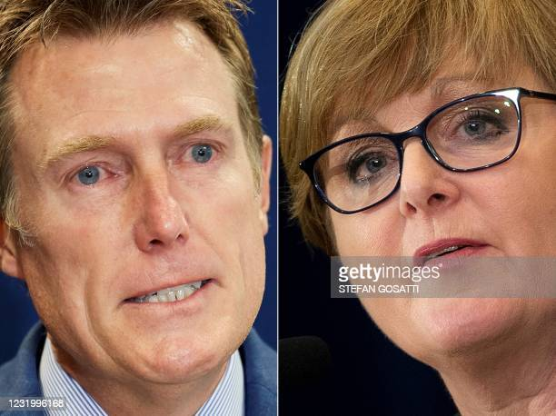 This combination of file pictures created on March 29, 2021 shows Australia's attorney general Christian Porter speaking during a press conference in...