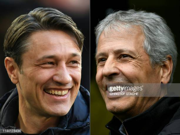 This combination of file pictures created on May 17 2019 shows Bayern Munich's Croatian headcoach Niko Kovac and Borussia Dortmund's Swiss coach...