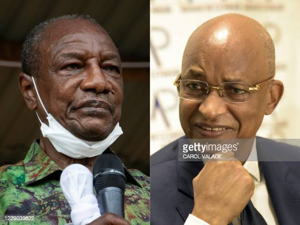 This combination of file pictures created on October 13 2020 shows Guinea President Alpha Conde addresses his supporters during a campaign rally in...