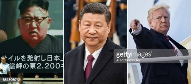 This combination of file pictures created on October 16 2017 shows China's President Xi Jinping at the Great Hall of People in Beijing on April 20...