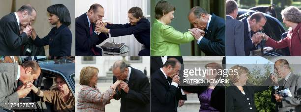 This combination of file pictures created on September 26 2019 shows French President Jacques Chirac kissing the hand US state secretary Condoleeza...