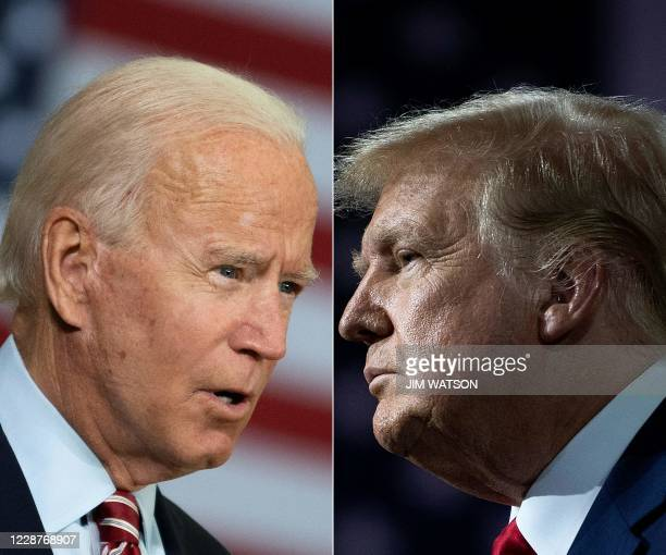 This combination of file pictures created on September 28, 2020 shows Democratic presidential candidate Joe Biden speaking in Tampa, Florida on...