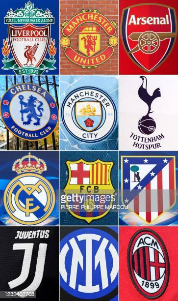 This combination of file pictures made on April 19 shows the logos of the following European football clubs: Liverpool on May 30, 2019 in Madrid;...