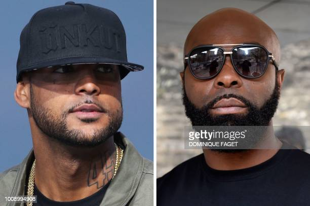 This combination of file pictures made on August 1 shows French rapper Booba on May 19 in Cannes southern France and French rapper Kaaris on March 25...