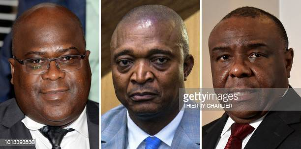 This combination of file pictures made on August 8 shows leader of the Union for Democracy and Social Progress opposition party Felix Tshisekedi in...