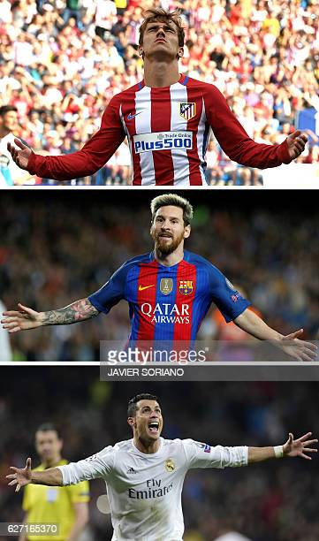 This combination of file pictures made on December 1 2016 shows Atletico Madrid's French forward Antoine Griezmann gesturing during the Spanish...