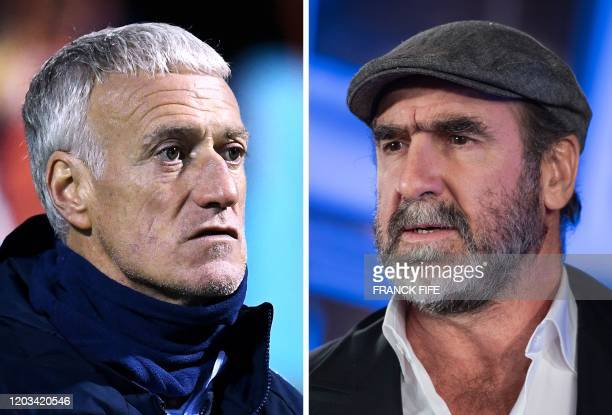 This combination of file pictures made on Febraury 22 shows France's head coach Didier Deschamps on November 12 in Clairefontaine-en-Yvelines, and...