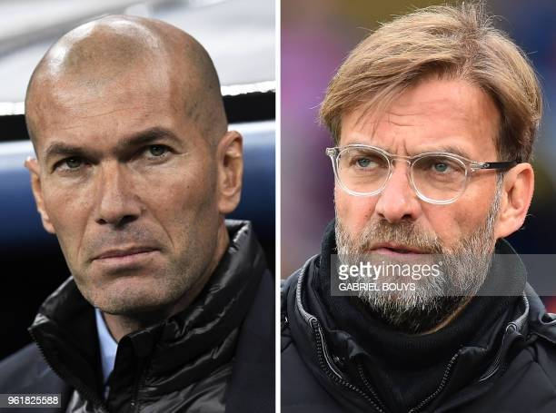 This combination of file pictures made on May 23 shows Real Madrid's French coach Zinedine Zidane in Madrid on February 14 and Liverpool's German...