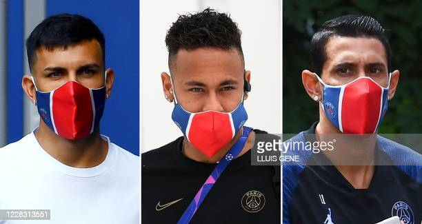 This combination of file pictures made on September 2 shows Paris Saint-Germain's Argentinian forward Leandro Paredes in Saint-Germain-en-Laye, west...