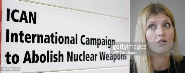 This combination of file pictures shows Beatrice Fihn executive director of the International campaign to abolish Nuclear Weapons and the name plate...