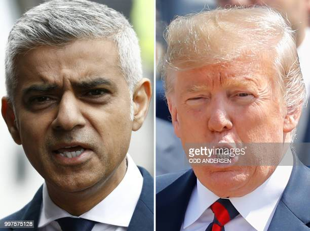This combination of files pictures created in Londno on July 13 2018 shows Mayor of London Sadiq Khan after visiting Borough High Street in London on...
