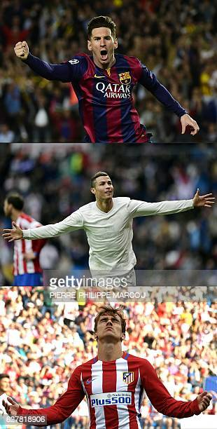 This combination of files pictures created on December 02 2016 shows TOP to BOTTOM Barcelona's Argentinian forward Lionel Messi celebrates after...