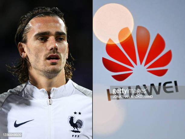This combination of files pictures created on December 10, 2020 shows France's forward Antoine Griezmann on October 11, 2019 in Reykjavik and the...