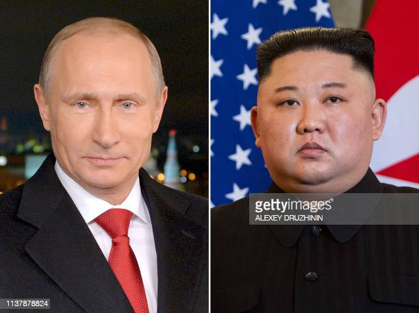 This combination of files pictures made on April 18 shows portraits of Russian President Vladimir Putin taken on December 31 2014 in Moscow and North...