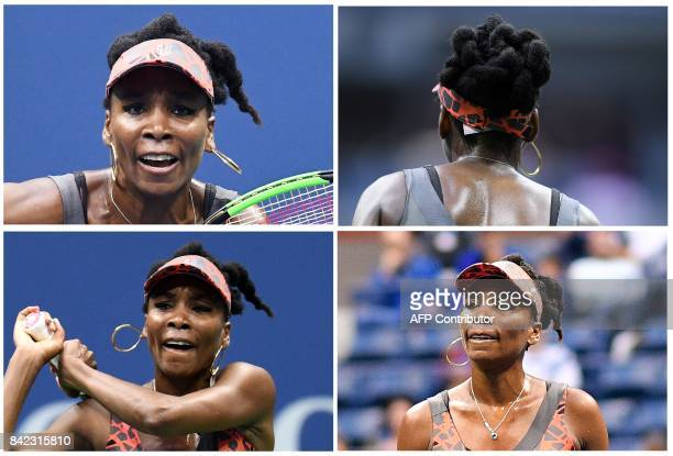 This combination of four pictures shows Venus Williams of the US playing wearing her earrings and after she lost one of them during her 2017 US Open...