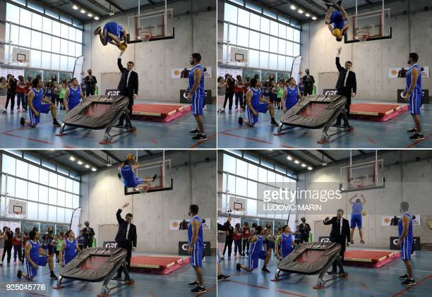 This combination of images created on February 27 shows French President Emmanuel Macron as he takes part in display of basketball skills during a...