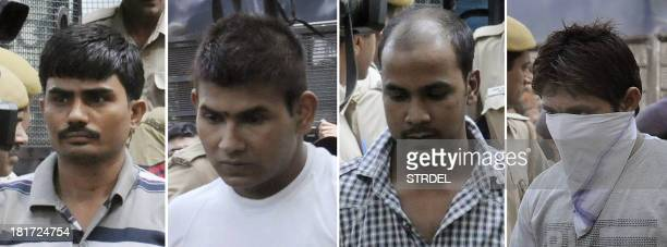 This combination of images created on September 24 shows convicted Indian prisoners : Akshay Thakur, Vinay Sharma, Mukesh Singh, Pawan Gupta as they...
