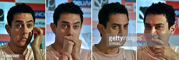 This combination of images shows Indian actor Aamir Khan at a promotional event for his current Bollywood Hindi film 'Three Idiots' in Mumbai on...