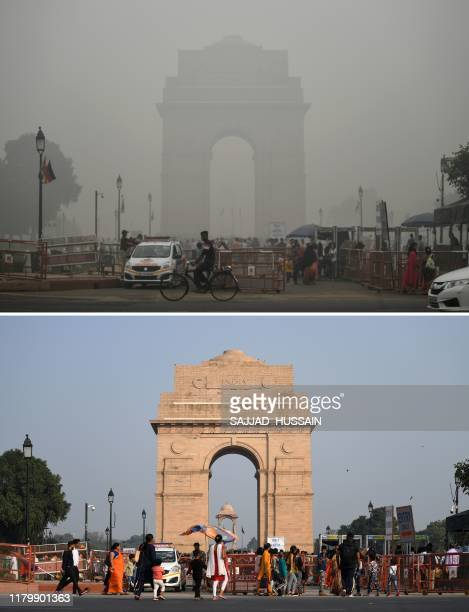 This combination of images shows tourists visiting the India Gate under heavy smog conditions in New Delhi on November 3 2019 and tourists visiting...