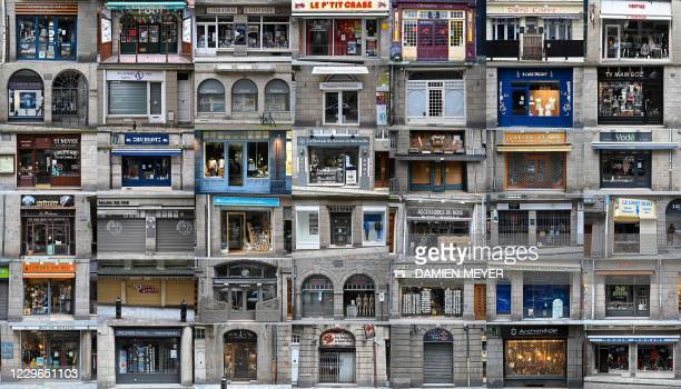 This combination of photographs created on November 16 shows shopfronts in Saint-Malo, north-western France, which are closed as the French...