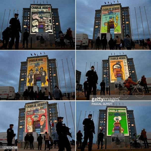This combination of photographs created on October 21 shows cartoons of French satirical weekly newspaper Charlie Hebdo being projected onto the...