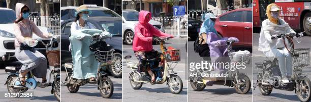This combination of photographs made on July 12, 2017 shows people riding electric bicycles while wearing sun protection clothing in Handan, Hebei...