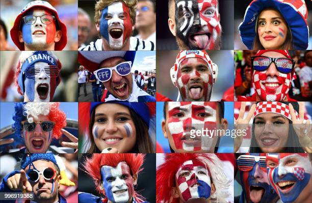 TOPSHOT This combination of photographs released on July 12 2018 shows supporters from France and Croatia cheering on their teams during the Russia...