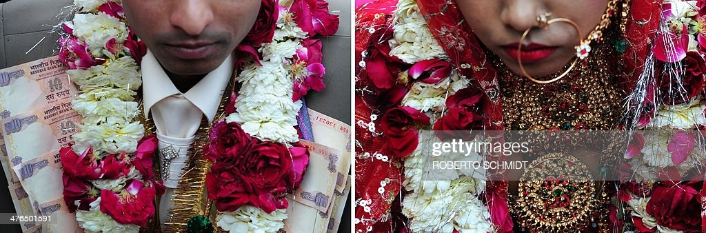 This combination of photographs show an Indian couple wearing decorations during a wedding ceremony that saw eleven couples tie the knot at the same time at a local Hindu temple in New Delhi on March 3, 2014. AFP PHOTO/Roberto SCHMIDT