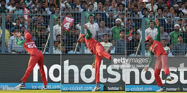 This combination of photographs shows Bangladesh's Soumya Sarkar as he leans across the boundary line to take a catch to dismiss Pakistan's Mohammad...
