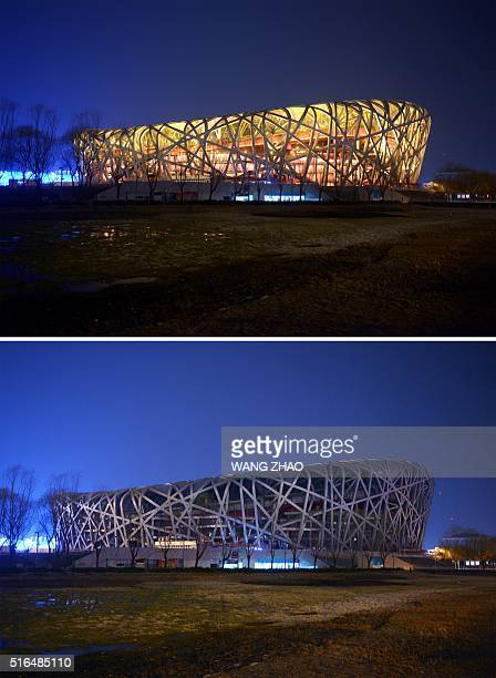 This combination of photographs shows the National Stadium known as the Bird's Nest with the lights on and with the lights off during the annual...