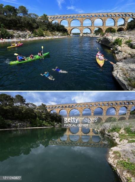 This combination of photos created on April 29 shows tourists enjoying a sunny day and kayaking on the Gard River in front of the Pont du Gard in...