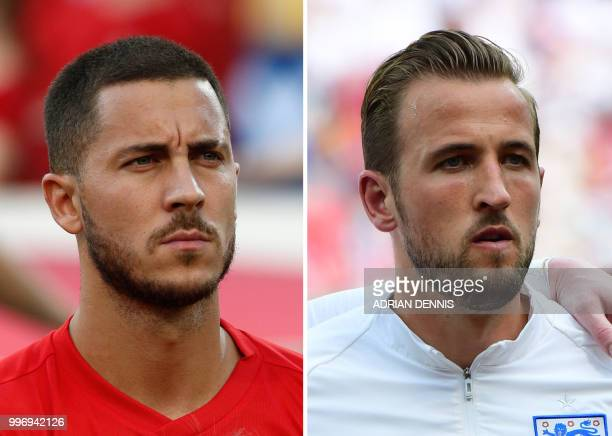This combination of photos created on July 12 2018 shows Belgium's forward Eden Hazard in Sochi on June 18 2018 and England's forward Harry Kane in...