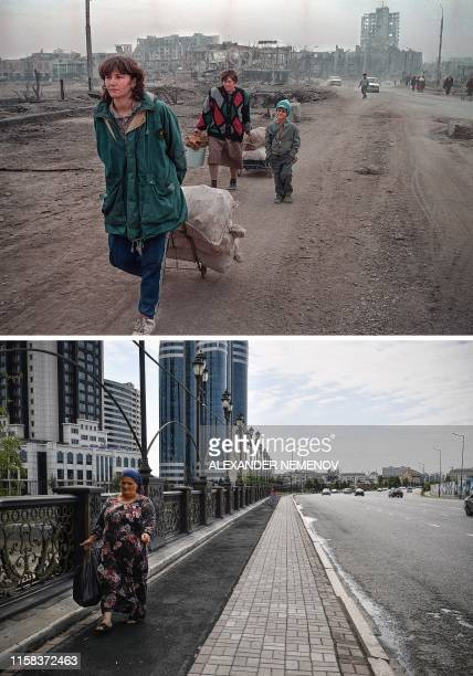 TOPSHOT This combination of photos created on July 29 shows a bridge over the Sunzha river in downtown Grozny on March 31 and the same location view...