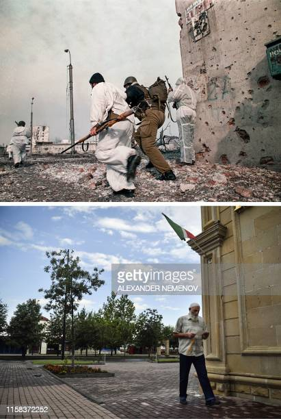 This combination of photos created on July 29 shows Chechen fighters running along the Lenin avenue under Russian fire in downtown Grozny on January...