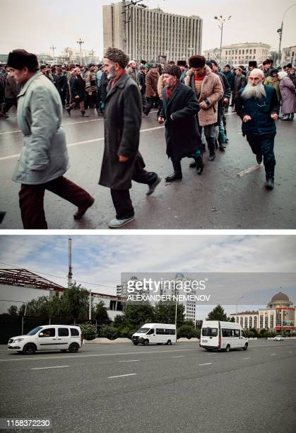 This combination of photos created on July 29 shows Chechen people dancing a Moslem Zikr dance in front of Jokhar Dudayev's presidential palace in...
