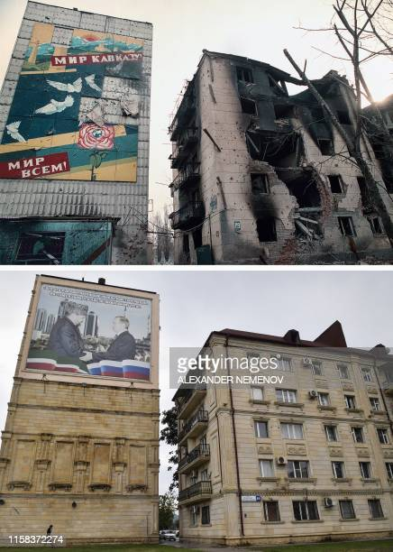 This combination of photos created on July 29 shows ruined buildings with a prewar time poster reading Peace to Caucasus Peace to Everybody in Grozny...